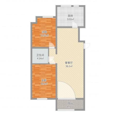 龙湖·香醍溪岸洋房2室2厅1卫1厨104.00㎡户型图