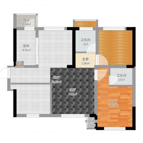 蓝光COCO蜜城1室1厅4卫1厨99.00㎡户型图