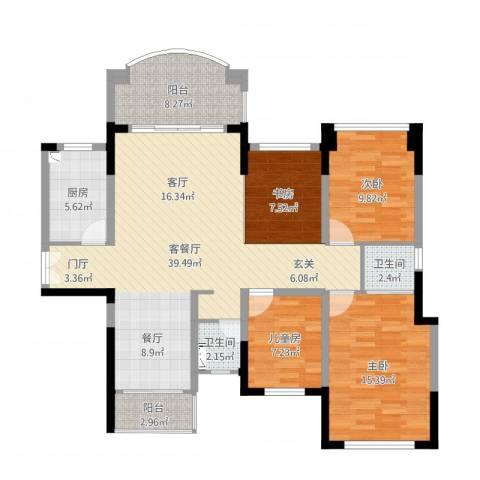 绿茵山庄4室2厅2卫1厨126.00㎡户型图