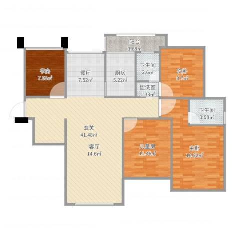 首开太湖一号4室2厅2卫1厨134.00㎡户型图
