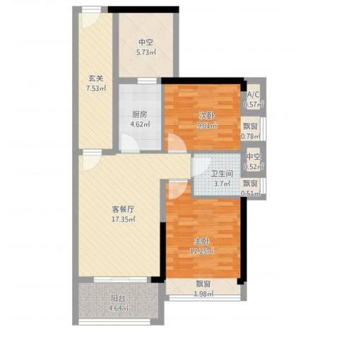 九鼎国际城2室2厅1卫1厨82.00㎡户型图