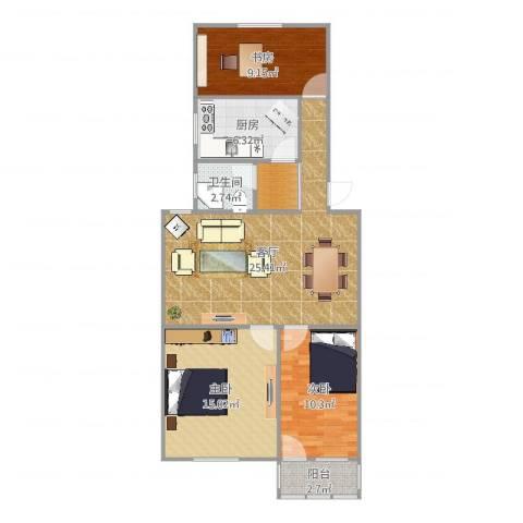 府河小区3室1厅1卫1厨92.00㎡户型图