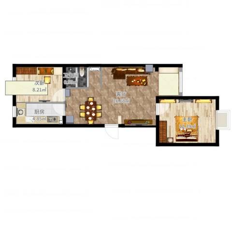孔雀海2室1厅1卫1厨67.00㎡户型图