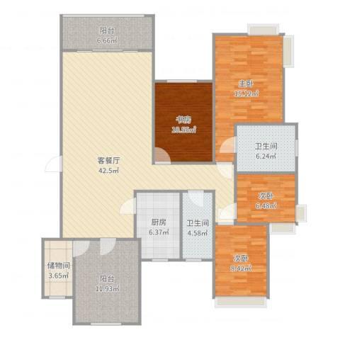 金域廊院4室2厅2卫1厨153.00㎡户型图