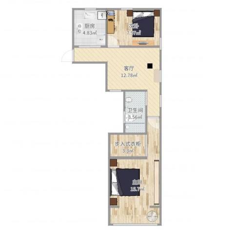上钢二村2室1厅1卫1厨60.00㎡户型图