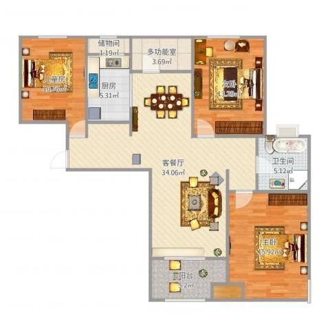 潮白河孔雀城剑桥郡3室2厅1卫1厨119.00㎡户型图