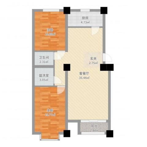万豪名园2室2厅1卫1厨91.00㎡户型图