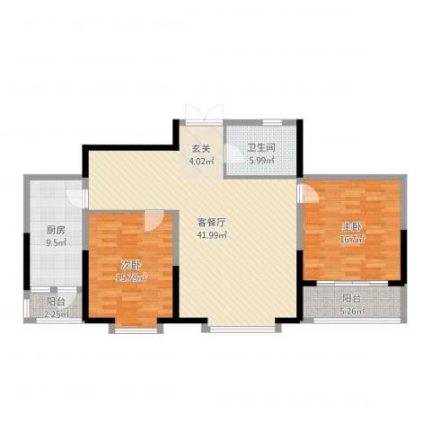 奥林国际公寓2室2厅1卫1厨122.00㎡户型图
