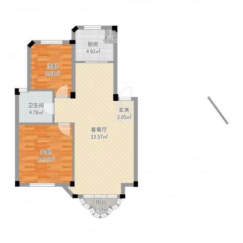 开世嘉年2室2厅1卫1厨85.00㎡户型图