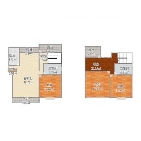 郁庭峰4室2厅2卫1厨225.00㎡户型图
