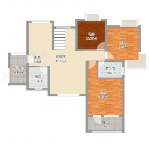 瑞泽源一里洋房3室2厅1卫1厨136.00㎡户型图