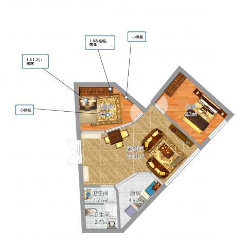 南华小区2室2厅2卫1厨58.00㎡户型图