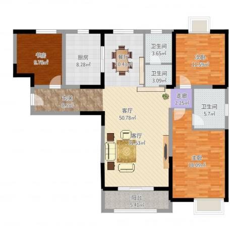招商海德名门3室1厅2卫1厨142.00㎡户型图