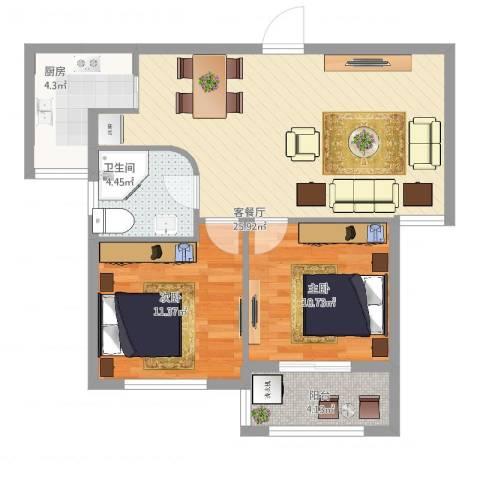 畔山公馆2室2厅1卫1厨86.00㎡户型图