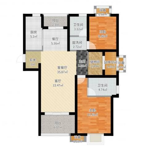 保利梧桐语1102室2厅2卫1厨105.00㎡户型图