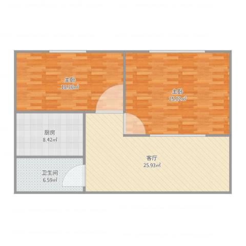万豪城2室1厅1卫1厨105.00㎡户型图