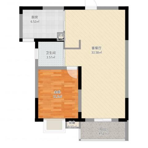 南湖春城1室2厅1卫1厨84.00㎡户型图