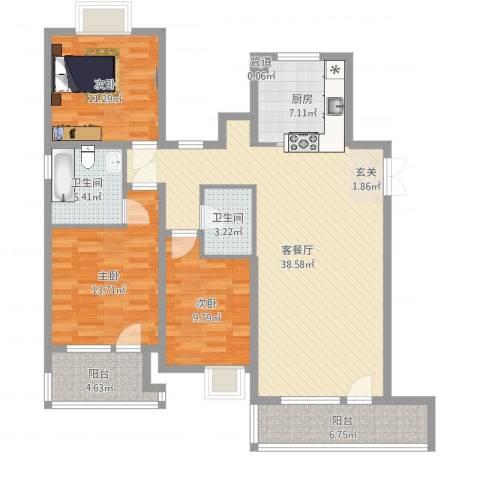 莲花湖公寓3室2厅2卫1厨126.00㎡户型图