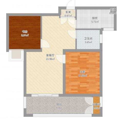 冠亨名城2室2厅1卫1厨79.00㎡户型图