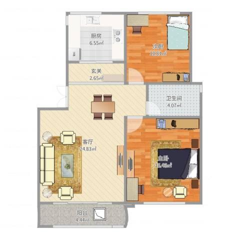 成亿宝盛家苑2室1厅1卫1厨85.00㎡户型图