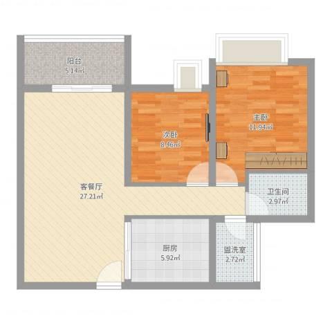 南山国际社区2室4厅1卫1厨80.00㎡户型图
