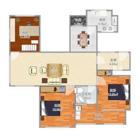 金色城邦3室2厅1卫1厨129.00㎡户型图