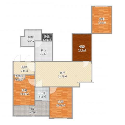 金色城邦4室2厅1卫1厨154.00㎡户型图