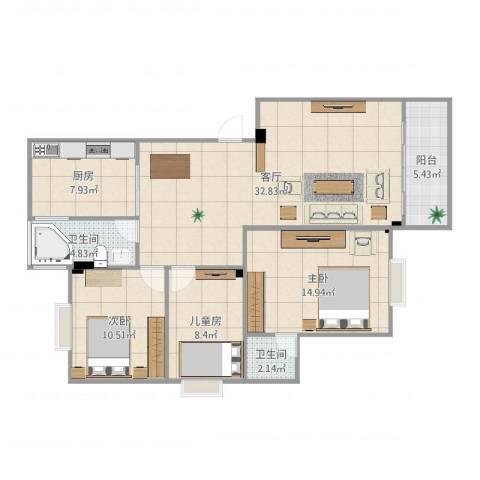 康裕花园3室1厅2卫1厨109.00㎡户型图