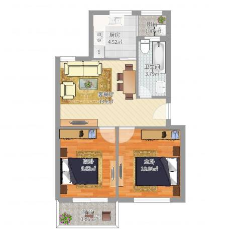 阳光天地2室2厅1卫1厨60.00㎡户型图