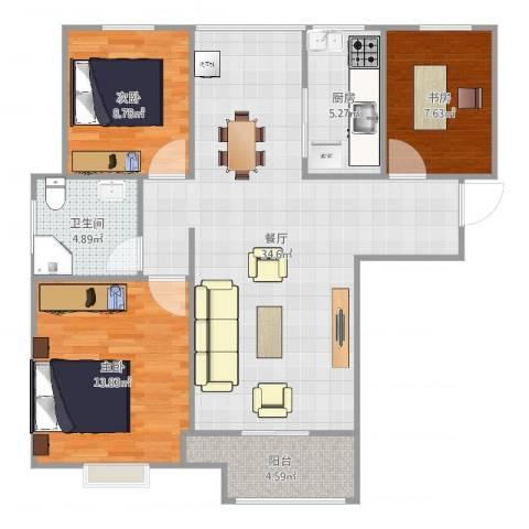 保利梧桐语3室1厅1卫1厨99.00㎡户型图