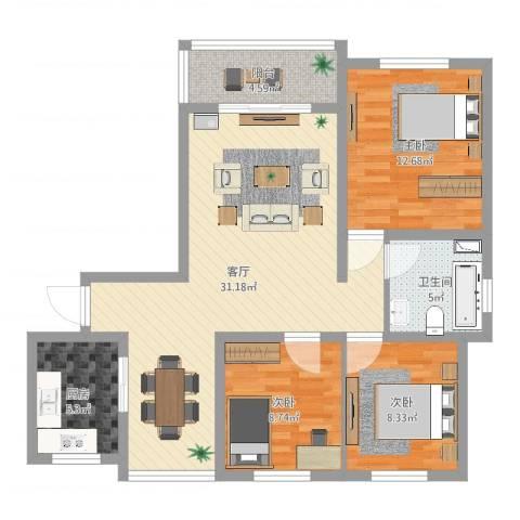 浦江宝邸3室1厅1卫1厨95.00㎡户型图