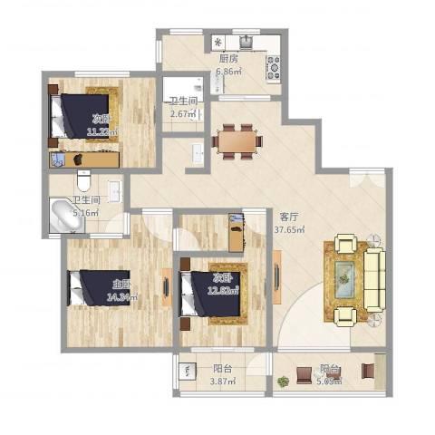 苏建名都城3室1厅2卫1厨125.00㎡户型图