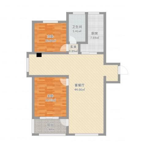 苏建名都城2室2厅1卫1厨112.00㎡户型图