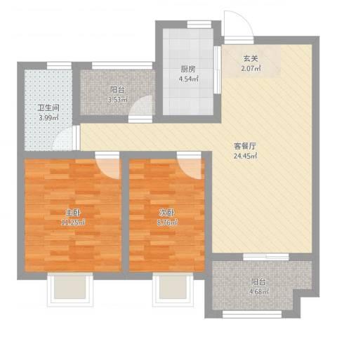 保利梧桐语902室2厅1卫1厨76.00㎡户型图