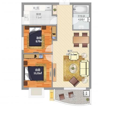 海光新都2室1厅1卫1厨84.00㎡户型图