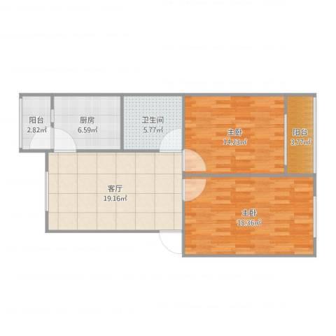 南简良2室1厅1卫1厨88.00㎡户型图