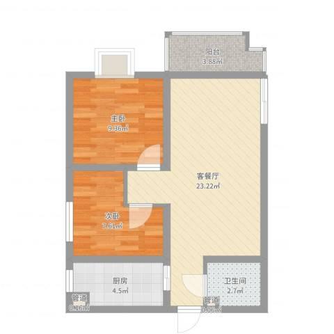 昌仁里小区2室2厅1卫1厨64.00㎡户型图