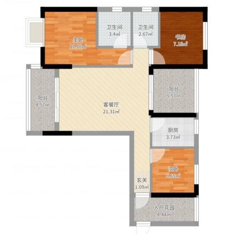 金园金色家园3室2厅2卫1厨100.00㎡户型图