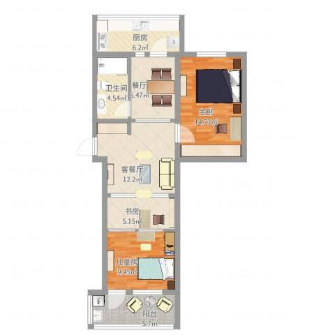 陈庄大街宿舍3室3厅1卫1厨81.00㎡户型图