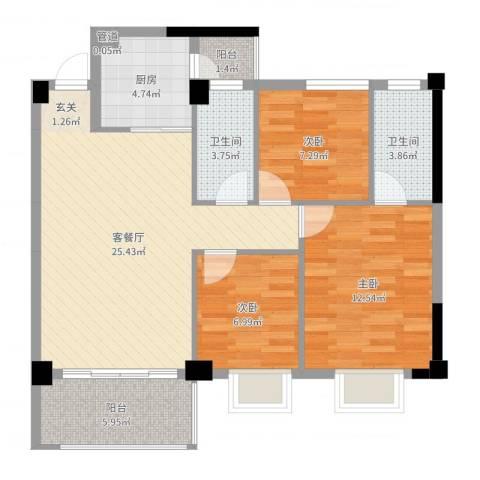 和丰明苑3室2厅2卫1厨90.00㎡户型图