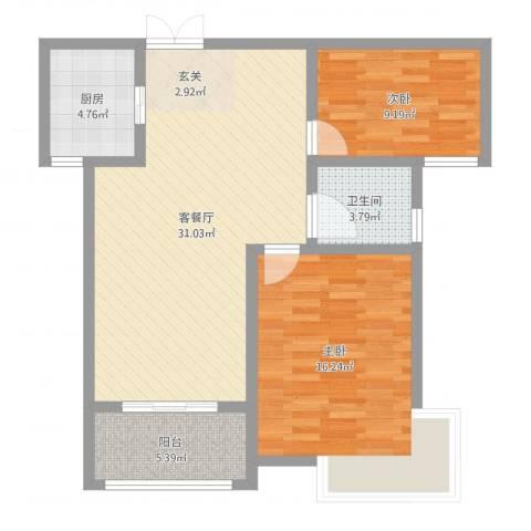 安阳义乌国际商贸城/义乌城2室2厅1卫1厨88.00㎡户型图