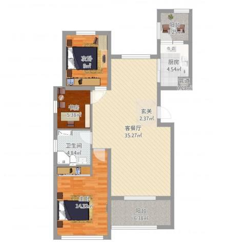 恒瑞大湖山语3室2厅3卫1厨105.00㎡户型图