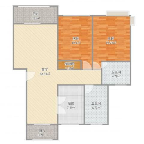 欧风花都2室1厅2卫1厨109.00㎡户型图
