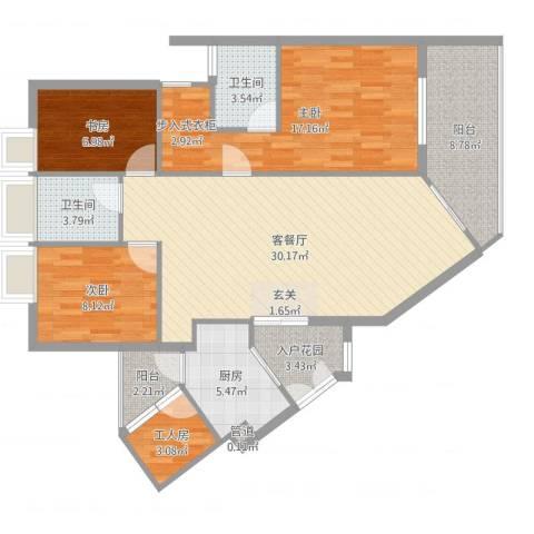 理想蓝堡国际花园3室2厅2卫1厨116.00㎡户型图