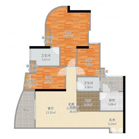 理想蓝堡国际花园3室2厅2卫1厨126.00㎡户型图