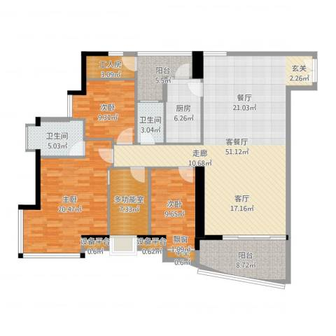 理想蓝堡国际花园3室2厅2卫1厨164.00㎡户型图