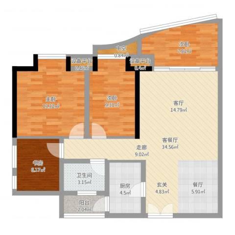 理想蓝堡国际花园4室2厅1卫1厨103.00㎡户型图