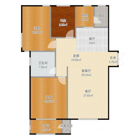 华中国宅华园3室2厅1卫1厨154.00㎡户型图