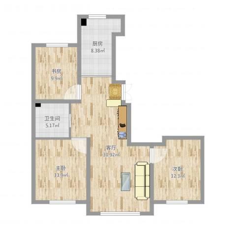 景康名苑3室1厅1卫1厨102.00㎡户型图
