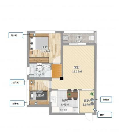 光谷麦郡2室1厅2卫1厨63.00㎡户型图